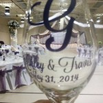 Cut Vinyl was designed and applied to these glasses as a wedding keepsake for the guests