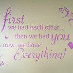 Quotes on walls or items can be custom designed for a certain size, font, color and saying especially designed for you