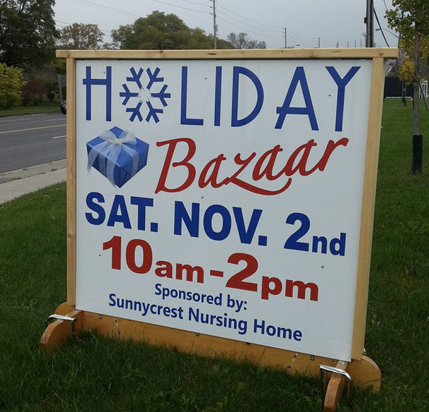This site sign has the date and time changed every year as the need arises. Great usage of a good looking sign