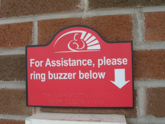 Completely designed by me, this sign was digitally printed, then braille applied and sealed to protect against fingerprints and the elements, and mounted on PVC. VERY durable.
