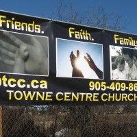 Eye catching design using photoshop gets the point across on this banner. Also many sandwich board inserts were created as well.