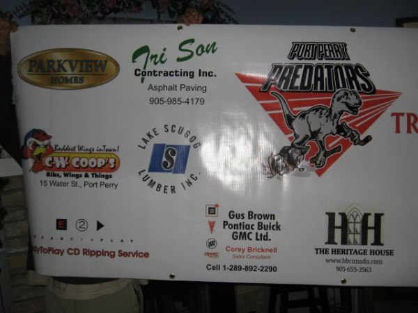 Many different logos were used in creating a sponsor banner for this organization.... very durable vinyl banner with grommets for hanging.