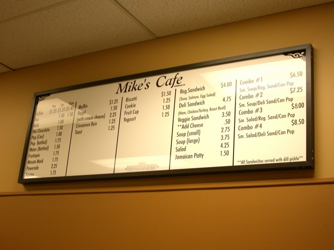 Personalizing your menu board with vinyl to give it a more friendly feel... when your prices or menu changes, call me for a quick fixup!