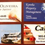 different designs for business cards, single or double sided, color or b/w
