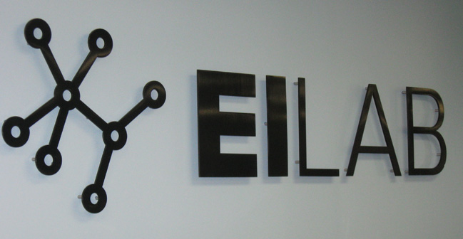 Formed plastic Channel lettering using logo, attached to wall using studs and spacers.... very professional look!