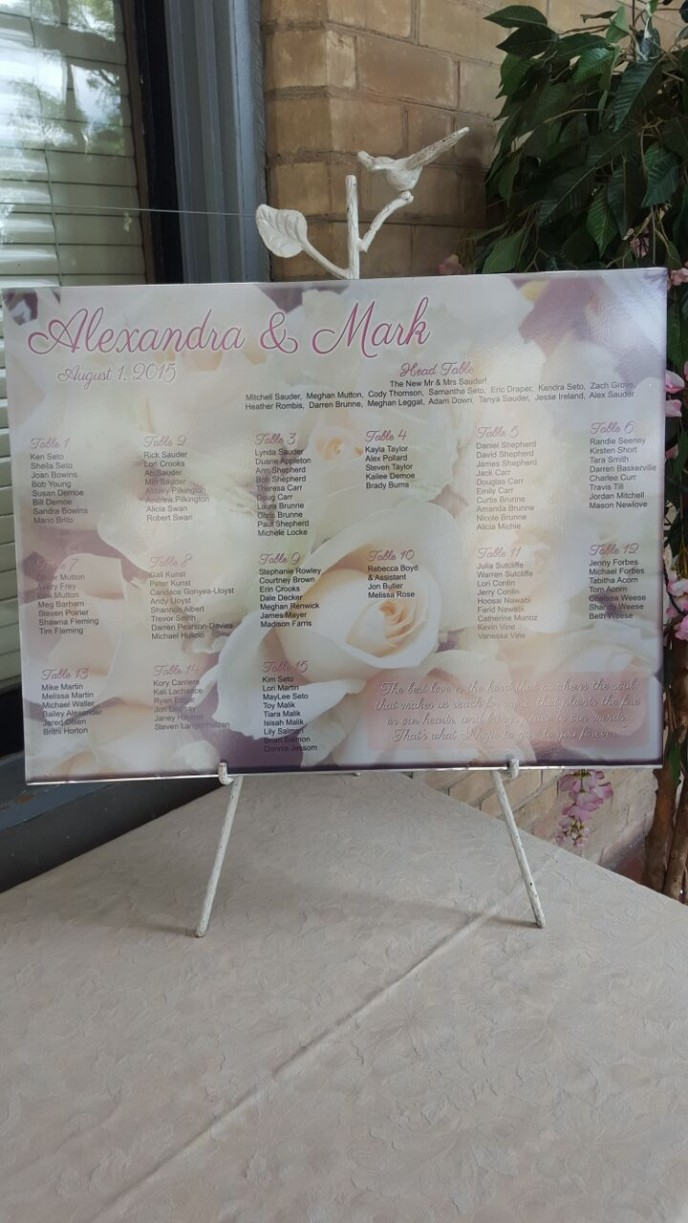 Personalized Seating Chart for your Keepsake